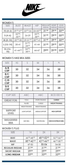 nike sports bra size guide